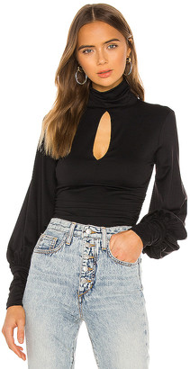 Susana Monaco Ruched Turtleneck Slit Top