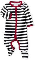Coccoli Newborn Boys) Charcoal Stripe Velour Footie
