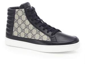 Gucci Supreme Leather& Canvas High-Top Sneakers