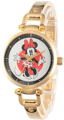 Disney Collection Minnie Mouse Womens Gold Tone Bracelet Watch-W002809