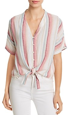 Elan International Striped Tie-Front Top