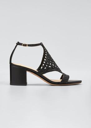 Alexandre Birman 60mm Cadie Woven Leather Sandals, Black