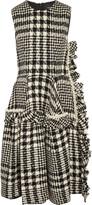 Simone Rocha Faux pearl-embellished plaid bouclé-tweed dress