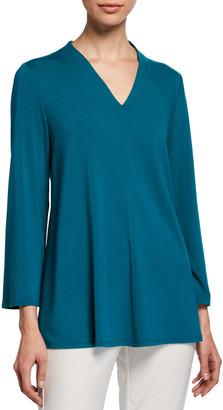 Eileen Fisher V-Neck Bracelet-Sleeve Jersey Top