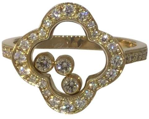 Chopard Happy Diamonds 18K Yellow Gold Clover Ring Size 6.25
