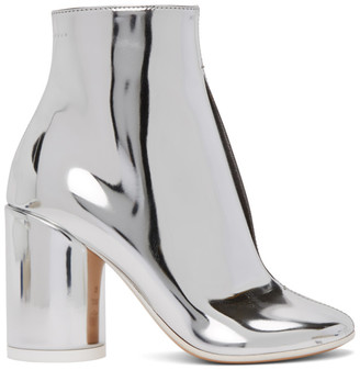 MM6 MAISON MARGIELA Silver Metallic Open Slit Ankle Boots