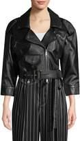 Carolina Herrera Women's Crop Leather Jacket