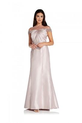 Adrianna Papell Illusion Mikado Dress In Bellini