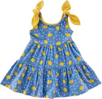 Florence Eiseman Girl's Polka-Dot Lemon Tiered Dress, Size 2-4T