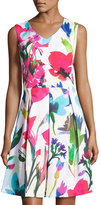 Ellen Tracy Sleeveless Floral-Print Flared Scuba Dress, White Pattern