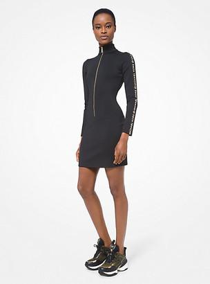 MICHAEL Michael Kors MK Embellished Scuba Zip-Up Dress - Black/gold - Michael Kors