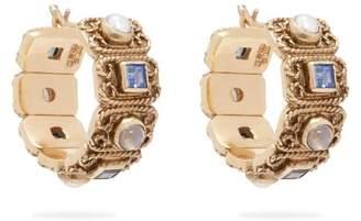 Jade Jagger Quartz, Amethyst & Pearl 18kt Gold Hoop Earrings - Womens - Blue