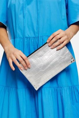 Topshop CORE Silver Zip Top Pouch Clutch Bag