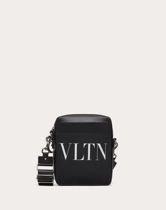 Valentino Garavani Uomo Small Leather Vltn Crossbody Bag Man Black/white 100% Pelle Bovina - Bos Taurus OneSize