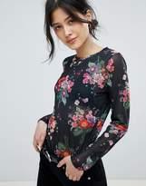 Ichi Floral Sheer Top