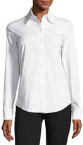 Michael Kors Stretch-Poplin Button-Front Blouse, White