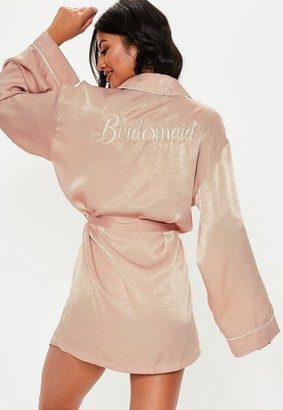 Missguided Blush Satin Embroidery Bridesmaid Dressing Gown