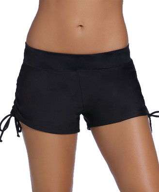 Zesica Women's Board Shorts Black - Black Ruched Side Boyshort Bikini Bottoms - Women & Plus