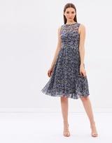 Warehouse Printed Pleated Midi Dress