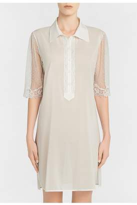 La Perla Liaison Off-White Silk Nightdress With Embroidered Tulle Sleeves