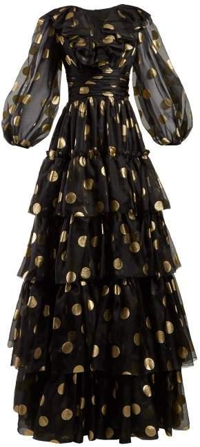 Dolce & Gabbana Polka Dot Print Tiered Silk Organza Gown - Womens - Black Gold