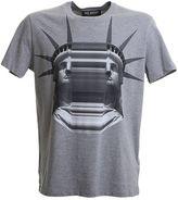 Neil Barrett Printed Grey Cotton T-shirt