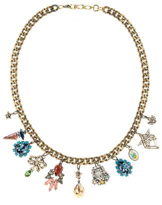 Halo & Co Vintage Charm Necklace With Mixed Jewels In Antique Gold Tone