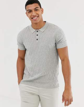 Jack and Jones textured knitted polo in grey