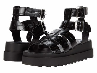 Steve Madden Zeeta Gladiator Sandal Black Croco 7