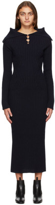 Lanvin Navy Wool Rib Knit Dress