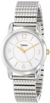 Timex Women's T2N844 Elevated Classics Dress Silver-Tone Expansion Band with Gold Accents Watch
