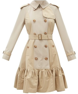 Burberry Clayhall Ruffled-hem Cotton-gabardine Trench Coat - Beige