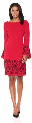 Jax Women's Embroidered Bell Sleeve Shift