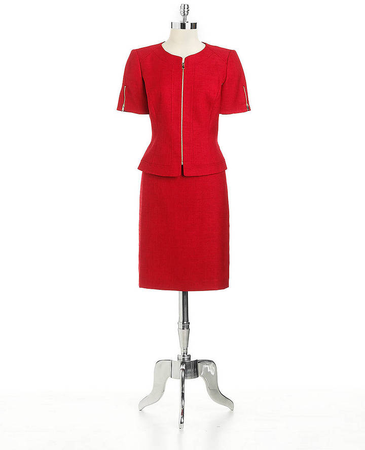 Tahari ARTHUR S. LEVINE Woven Two-Piece Skirt Suit