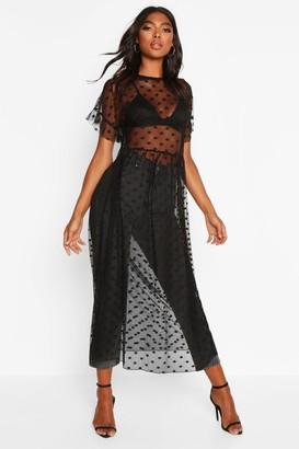 boohoo Tall Dobby Mesh Midi Dress