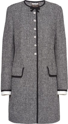 Miu Miu Crystal-Embellished Checkered Coat