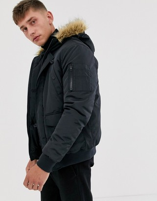 French Connection faux fur hood flight jacket-Navy