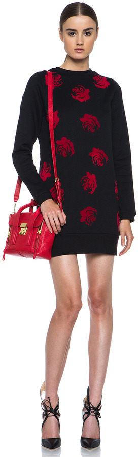 Opening Ceremony Lucky Rose Sweatshirt Dress in Black & Red