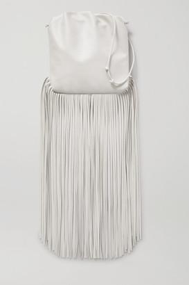 Bottega Veneta Fringe Gathered Leather Shoulder Bag - White
