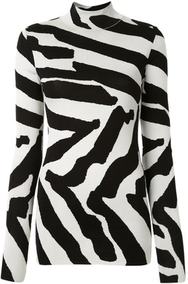 Proenza Schouler Abstract-Stripe Turtle-Neck Jumper