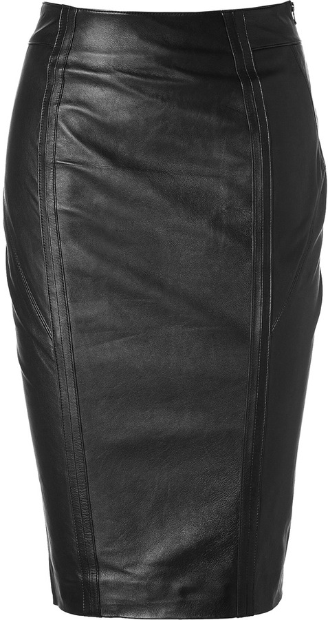 L'Agence LAgence Black Leather Skirt with Side Zip