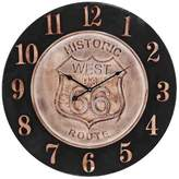 "Lazy Susan Historic Route 66 24"" Aged Parchment Wall Clock Bronze"