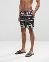 Asos Swim Shorts With Geo Print In Mid Length