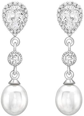 Carissima Gold 9ct White Gold Cubic Zirconia Cluster and Pearl Drop Earrings