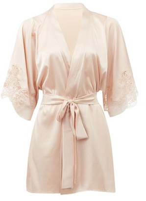 Fleur of England Signature Lace-trimmed Silk-blend Satin Robe - Light Pink