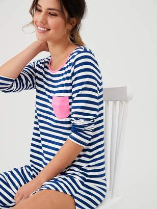 Pour Moi? Pour Moi Jersey Stripe Long Sleeve Secret Support Nightdress - Navy/White/Pink