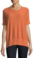Eileen Fisher Sleek Short-Sleeve Stretch-Knit Top, Petite
