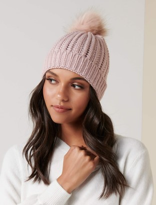 Forever New Molly Cable Knit Fur Pom Beanie - Blush - 00