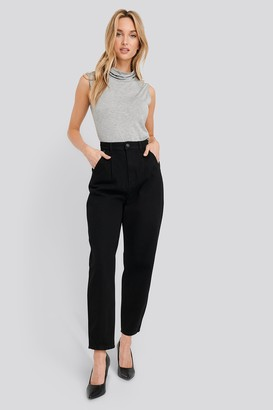 NA-KD Cropped Balloon Leg Jeans Black