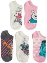 Disney Winnie The Pooh & Friends Ladies and Juniors 5 pk No Show Socks